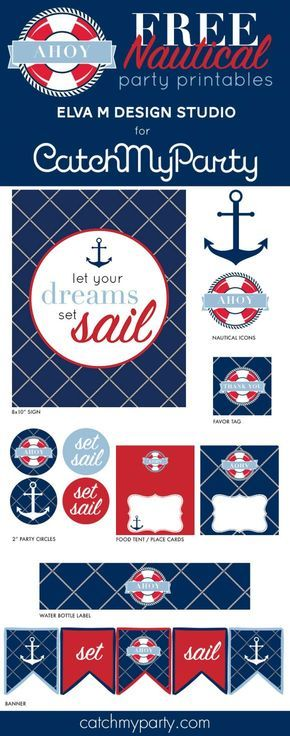 Free nautical birthday and baby shower party printables   CatchMyParty.com