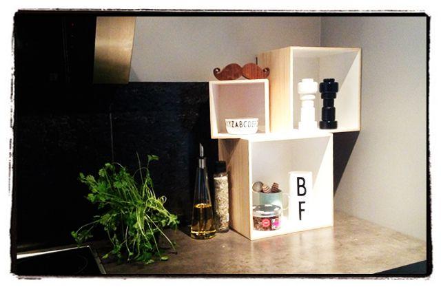 Kitchen corner. Muuto. Design letters. Mustache. Bloomingville boxes.