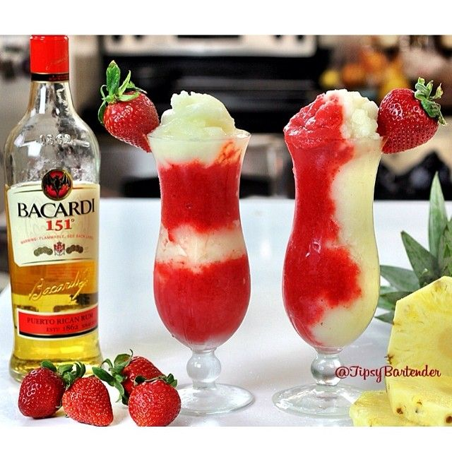 Just uploaded to YouTube: THE MIAMI VICE COCKTAIL Strawberry Daiquiri Mix 2 oz. (60ml) Bacardi 151 2 Cups Strawberries 1 1/2 oz. (45ml) Simple Syrup 1/2 oz. (15ml) Grenadine Piña Colada Mix 2 oz. (60ml) Bacardi 151 1 1/2 oz. (45ml) Cream of Coconut 1 1/2 oz. (45ml) Pineapple Juice Pineapple Slice #cocktail #pinacolada #daiquiri #bacardi