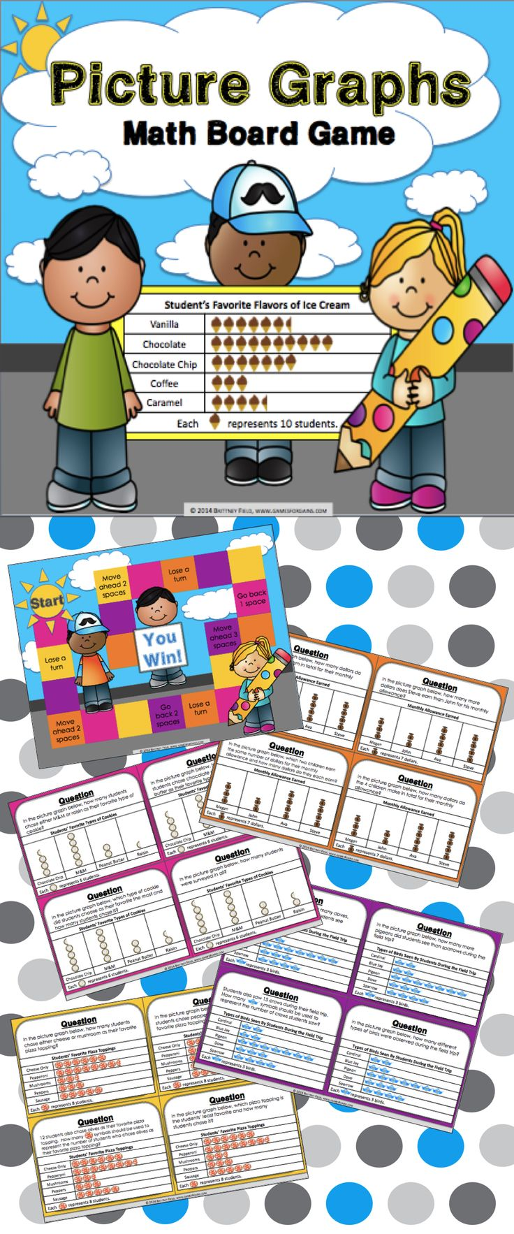 This picture graphs game contains 30 picture graphs game cards and a game board to help students practice solving problems using data presented in different picture graphs (3.MD.B.3). This game works great as a pair/group activity, or for use in math centers.