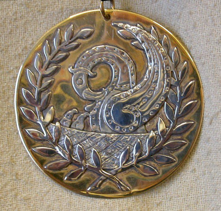 Medallion (and matching circlet, not shown) belonging to Master Ljotr Einarsson (An Tir), made by the Honourable Lady Safiye Konstantiniyye in the medieval Norse style.