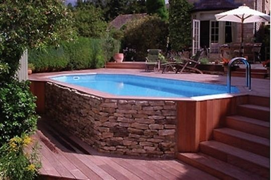 Above ground pool much cheaper just make it look 'built in'. - Click image to find more gardening Pinterest pins