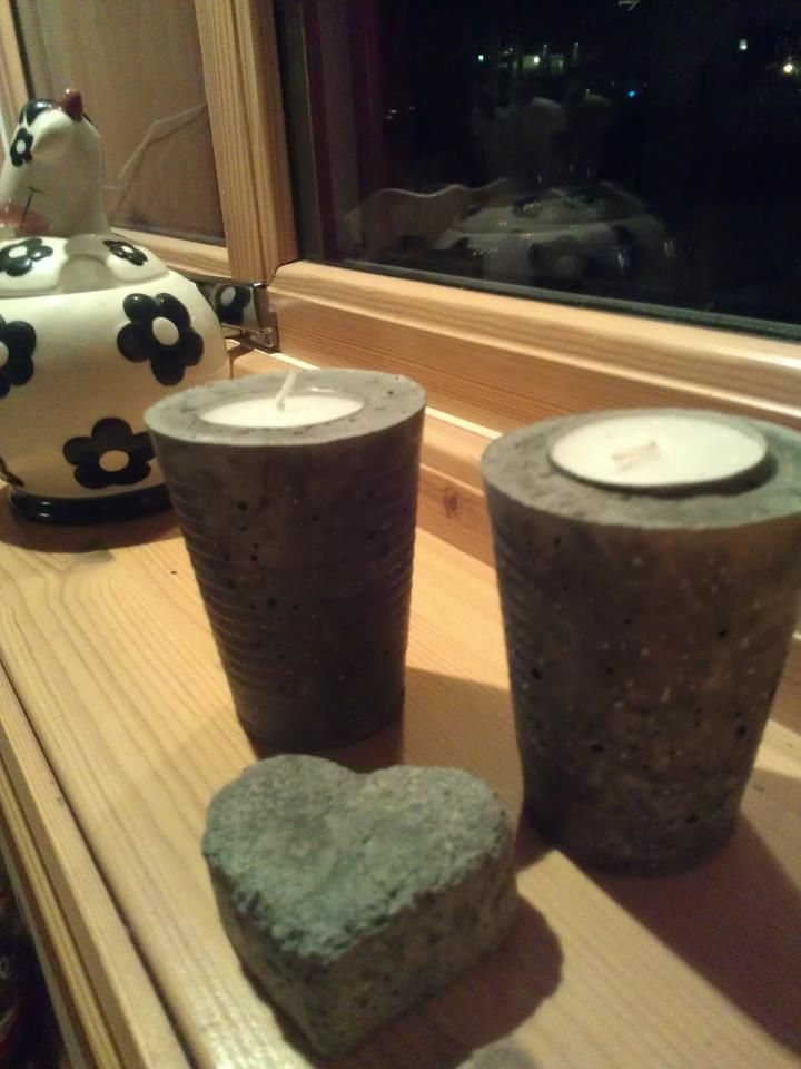 concrete candleholder and heart