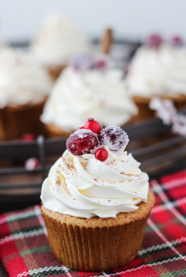 Spiced eggnog cupcakes with whipped bourbon buttercream.