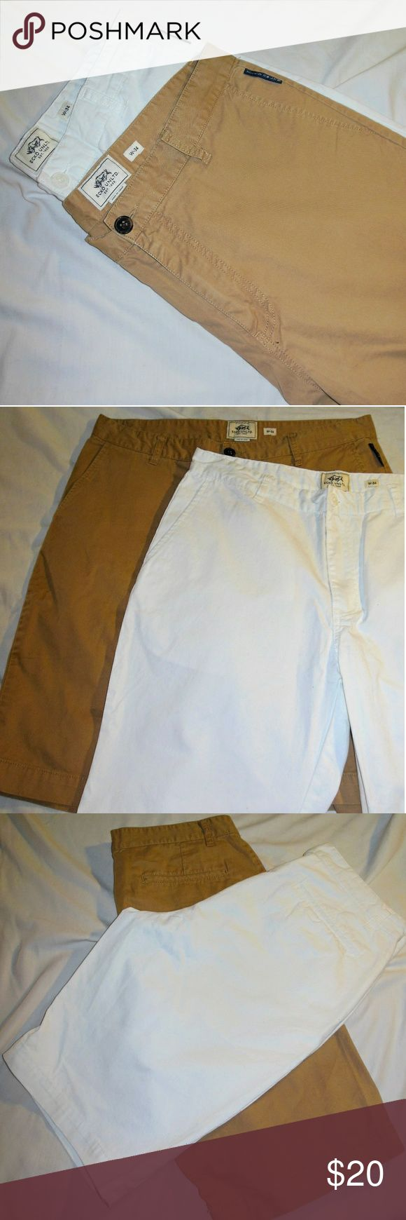 Bundle Men's Ecko Unltd Cargo Shorts W-34 Tan Whte Here I have a bundle of two pairs of mens Echo shorts in size W - 34. One is beige/tan and the other is white. They are both in excellent used condition. The white ones look to be nearly brand new. Men just don't have enough variety in clothing and Ecko is a little pricey so I figured why not give a guy a hand LOL. Do you have a bundle you'd like to see made? Let me know :-) Ecko Unlimited Shorts