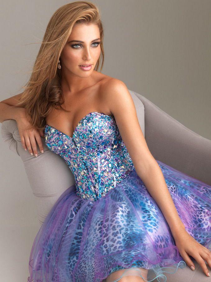 Short Purple Prom Dresses 2014 | Blue Purple Short Leopard Beaded Corset Back Prom Dress 2014