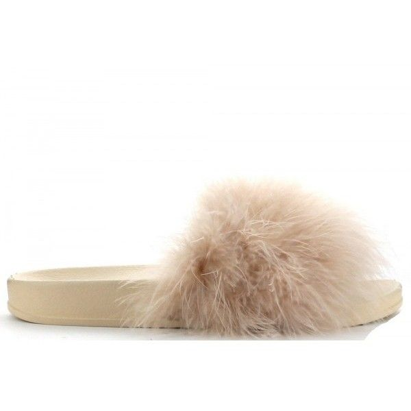 FURLA NUDE SLIPPERS *PREORDER* (120 RON) ❤ liked on Polyvore featuring shoes and slippers