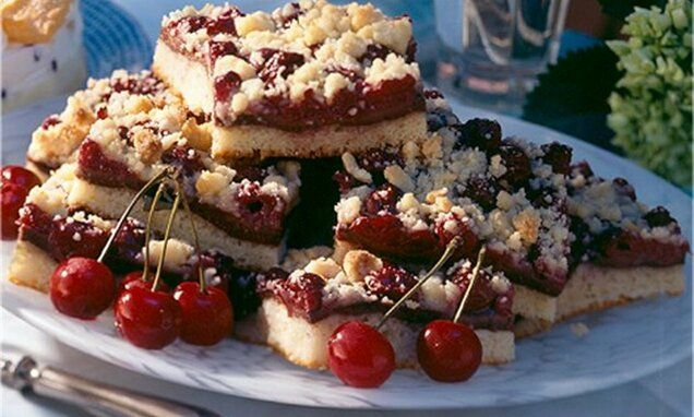 Schoko Kirschkuchen Mit Mandelstreuseln Rezept Kirschkuchen Lebensmittel Essen Rezepte