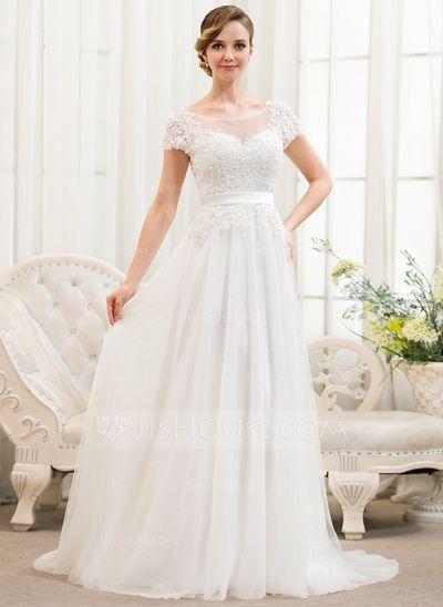 Corte A/Princesa Escote redondo Barrer/Cepillo tren Tul Charmeuse Encaje Vestido de novia con Bordado Lentejuelas (002052783)