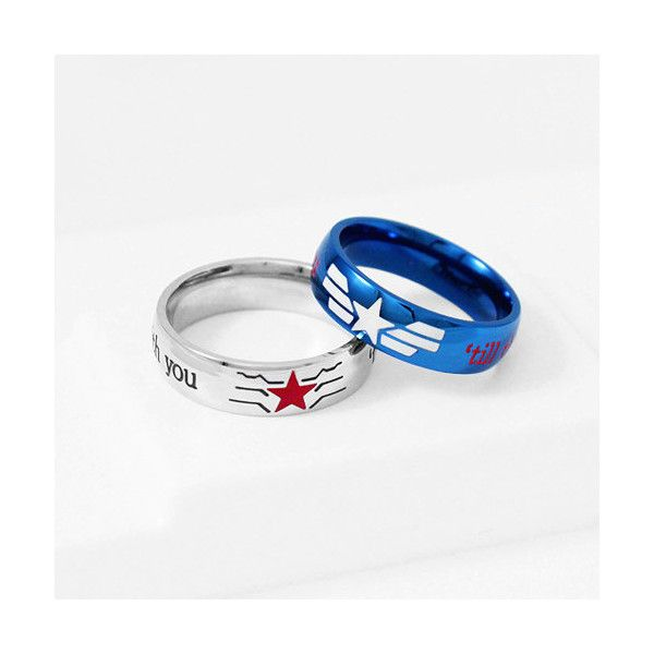 STUCKY Ring Winter Soldier Captain America Stainless Steel, Stucky... ($25) ❤ liked on Polyvore featuring jewelry, rings, blue jewelry, stainless steel jewellery, blue ring, blue engagement rings and blue stainless steel ring