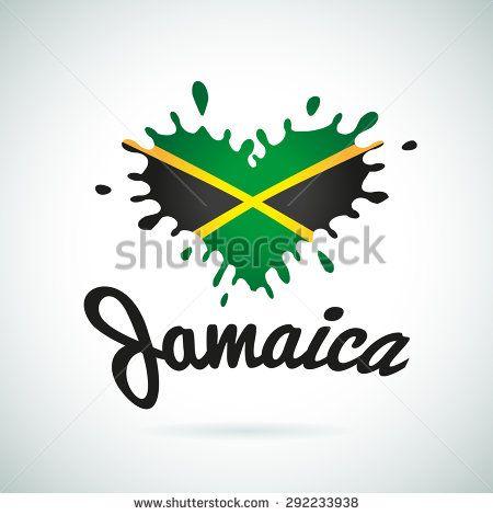 Love Jamaica lettering Heart illustration, carribean music logo design. African flag print