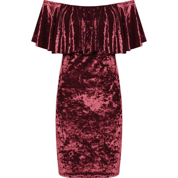 Myrtle Crushed Velvet Bardot Dress ($42) ❤ liked on Polyvore featuring dresses, wine, red ruffle dress, red sleeveless dress, off the shoulder ruffle dress, tiered dress and wine red dress