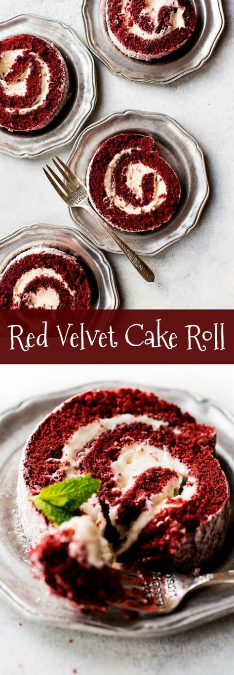 Learn how to make a deliciously soft red velvet cake roll using this step-by-step photo tutorial and recipe! http://sallysbakingaddiction.com