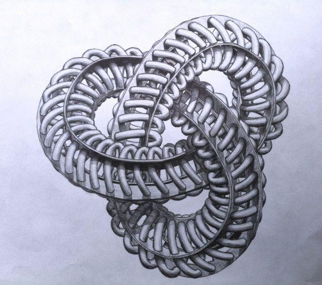 Nudo Trifoil formado por cuatro bandas de Moebius paralelas y una espiral en circunferencia. El nudo Trifoil es el tipo más sencillo de nudo no trivial en la Teoría de nudos.
