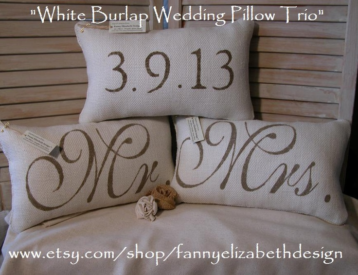 3 Wedding Pillows FREE SHIPPING-- Mr. and Mrs.- Burlap Mr. and Mrs. Pillows-  Wedding Gift- Rustic Wedding-Pillow- Decorative Pillow-. $90.00, via Etsy.