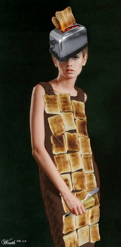 hahahaha.... okay, let's see -- a toaster for a hat to go with your toast dress!  What I want to know is.... where's the toast purse?????