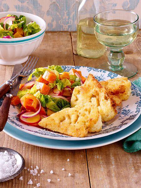 So gut: Blumenkohlschnitzel zu Süßkartoffel-Salat