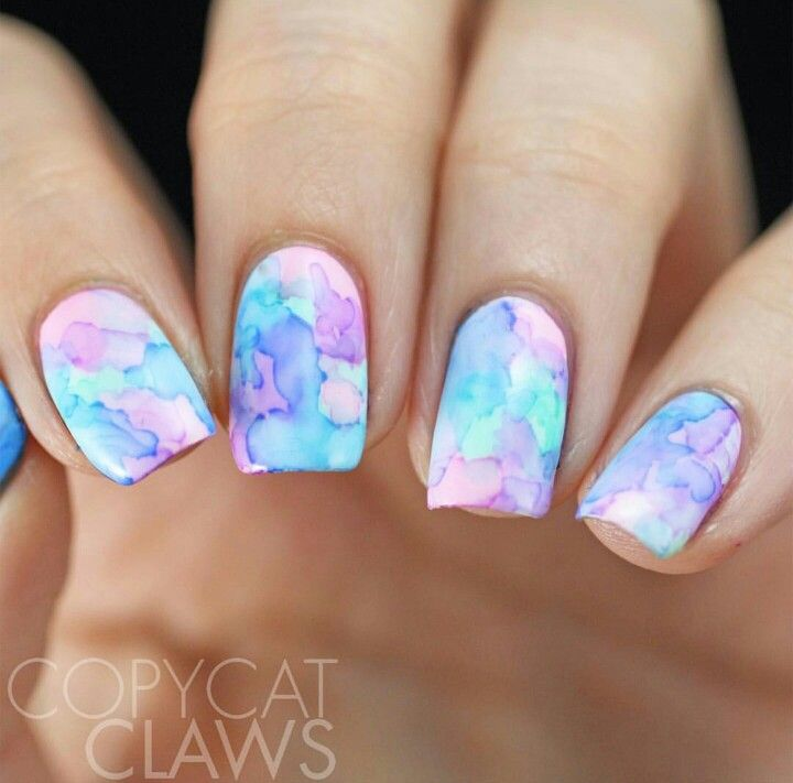 Copycat Claws Blue Color Block Nail Art: Best 25+ Water Color Nails Ideas On Pinterest