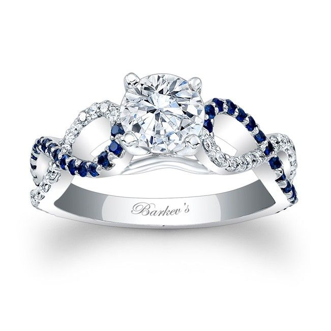 Blue Sapphire Engagement Ring - 7714LBSW