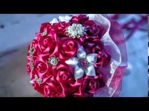 Свадебный Букет-Брошь из Лент с Розами / Wedding Bouquet with Roses - YouTube