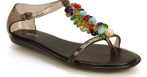 Σανδάλια τζελ με διακοσμητικές χάντρες Μαύρο #moda #style #sales