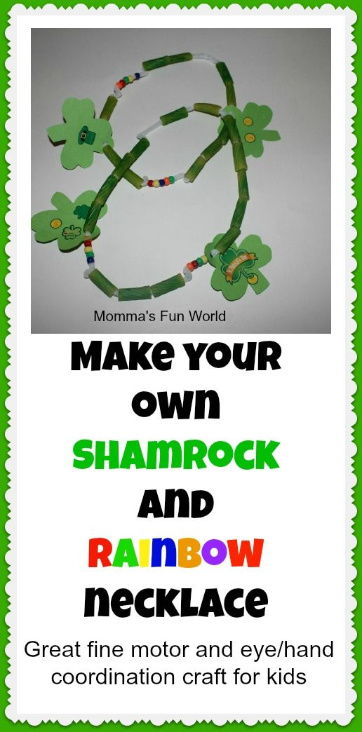 Shamrock/Rainbow necklace craft for kids...great fine motor and eye/hand coordination craft