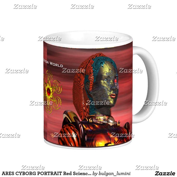 ARES CYBORG PORTRAIT Red Science Fiction Sci-Fi Coffee Mug #robot #tech #scifi #3danimation #android #robotics #geek #nerd #comics