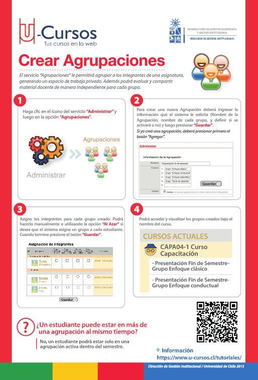 Crear Agrupaciones en U-Cursos. Para ver versión web visite http://www.dgi.uchile.cl/docs/fb/guias/u_cursos_crear_agrupaciones/#