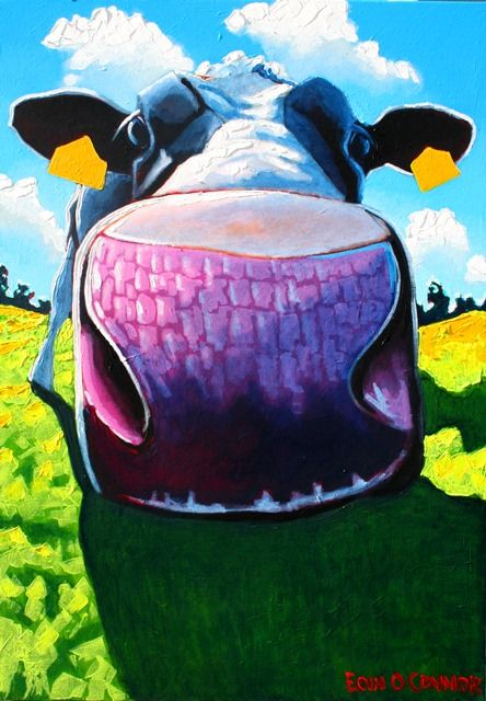 """Curious cow"" 100cm x 70cm acrylic on fat canvas www.eoinoconnor.com"