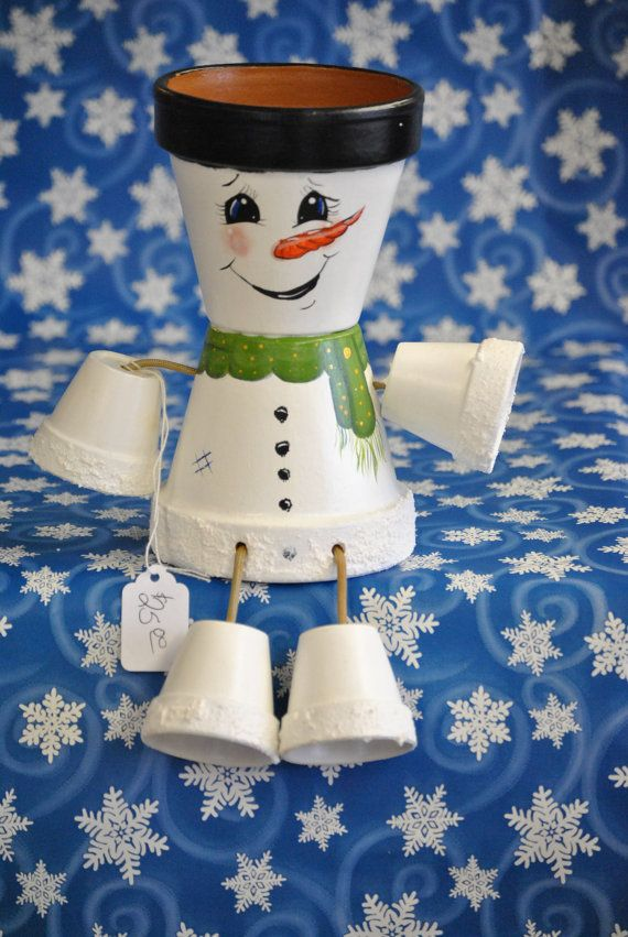 Snowman Pot Person - made by crazycraftingfriends on Etsy