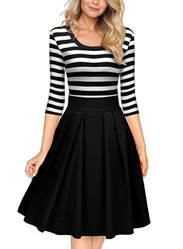 Miusol Women's Navy Style Stripe Scoop Neck 2/3 Sleeve Casual Swing Dress - http://www.darrenblogs.com/2016/12/miusol-womens-navy-style-stripe-scoop-neck-23-sleeve-casual-swing-dress/