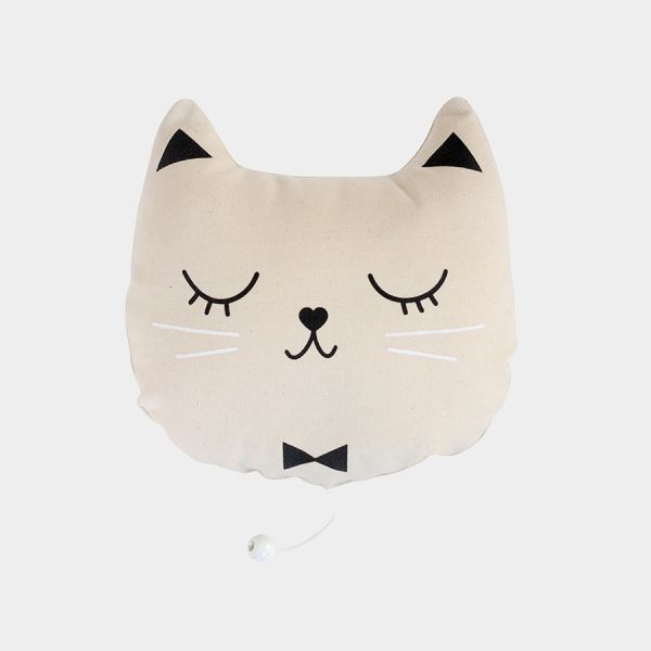 Coussin musical tête de chat en coton Boîte à musique à tirer Mélodie