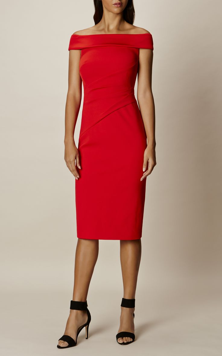 Karen Millen, BARDOT SHOULDER PENCIL DRESS Red - 180 CHF