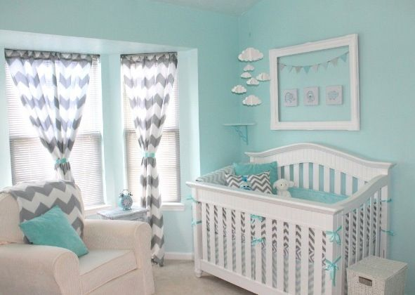 Aqua and grey chevron girl nursery. Love!!