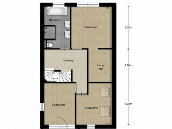 Indeling bovenverdieping. Van de inloopkast kun je nog een slaapkamer maken.