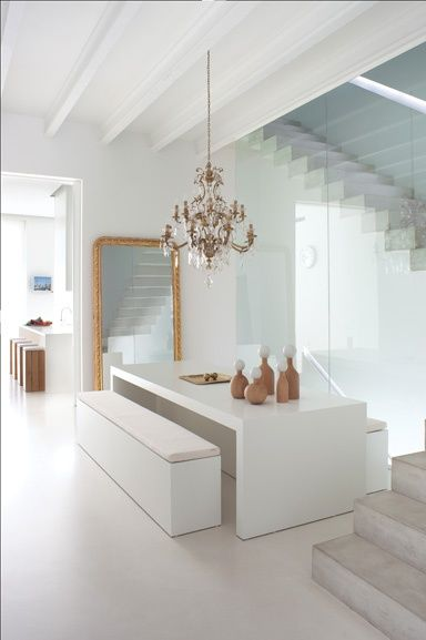 Dining Room. White. Clean. Minimal. Chandelier. Gold. Bench. Table. Design. Decor. Interior. Home.