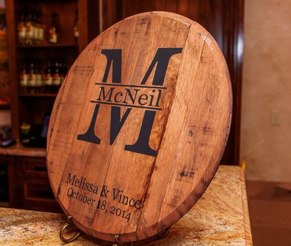 bourbon barrel head - Monogram and Last name personalized  - Great wedding gift.