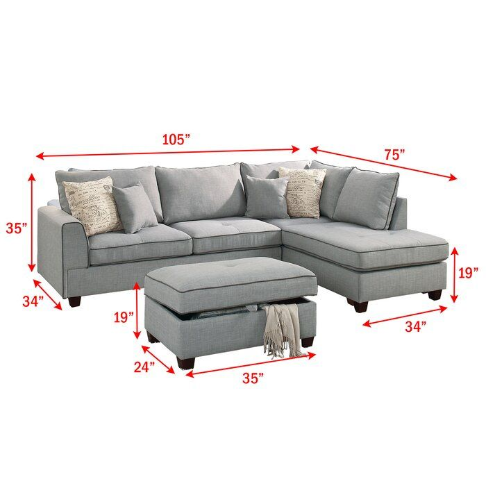 Malta Reversible Sectional With Ottoman Sectional Living Room Small Sectional Sofa Sectional