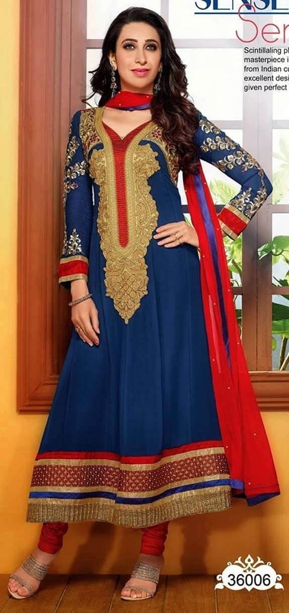 Buy Eliza Blue and Red Coloured Enouring Anarkali Suit by Online Fashion Mart Online at Xarato.com