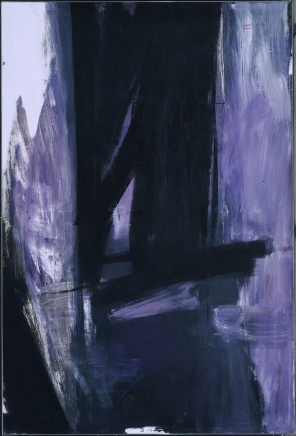 """Franz Kline's """"Torches Mauve"""" has an extremely powerful presence. The vertical canvas stands 10'x6' forcing the viewer to look up and see Kline's majestic brushwork.  The painting consists of 3 dominant colors black, white and mauve. The colors are mainly very saturated, out- of–the-tube colors except when the purplish color gets mixed with the whites & blacks.  Color was not common for Kline and most of his work consisted of black and white."""