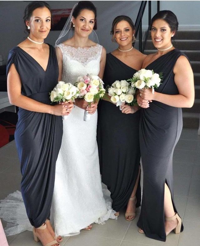 Stunning bridal party. Different Pia Gladys Perey Gowns in Ash colour. Available at Nora and Elle Bridesmaids.