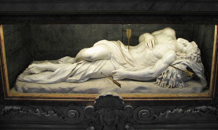 St Sebastian Rome - the city of martyrs: above the catacombs where the Christian martyrs were buried, Constantine built the basilica of St Sebastian. This marvellously life-like statue of him by Antonio Gioretti, one of Bernini's pupils, adorns his shrine on the site of his burial.
