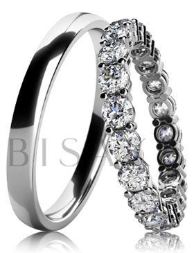BD6-19 Snubní prsteny z bílého zlata v lesklém provedení, kdy dámský prsten je po celém obvodu zdoben kameny o průměru 3,0 mm. Vzhledem k jemnému a elegantnímu provedení dámského prstenu, lze tento model snadno kombinovat se zásnubním prstenem. #bisaku #wedding #rings #engagement #svatba #snubni #prsteny #design