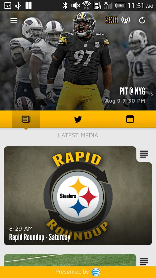 This is the official mobile app of the Pittsburgh Steelers. Make your Android device a unique part of your game-day experience for Steelers games.  You can stay in touch with the Steelers anytime, anywhere, on your Android device.