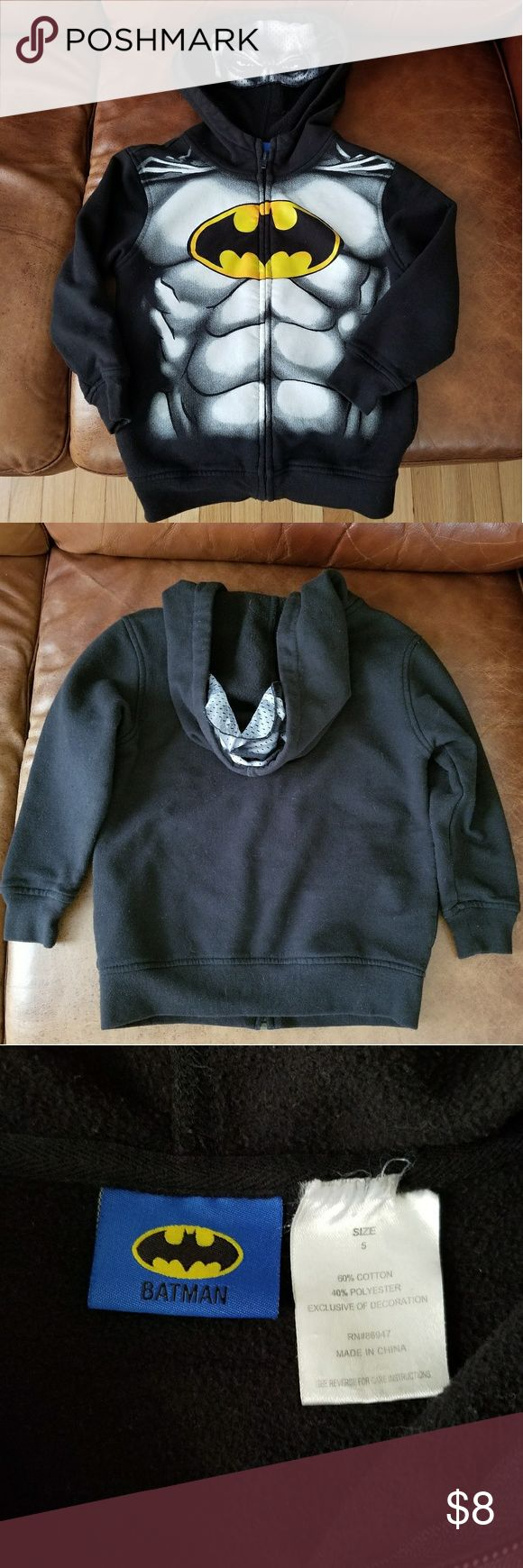 Kid's Batman hoodie Awesome Batman hoodie. Has eye mask on the hood. Great condition, zipper works. No stains or holes. Size 5. $8 Shirts & Tops Sweatshirts & Hoodies