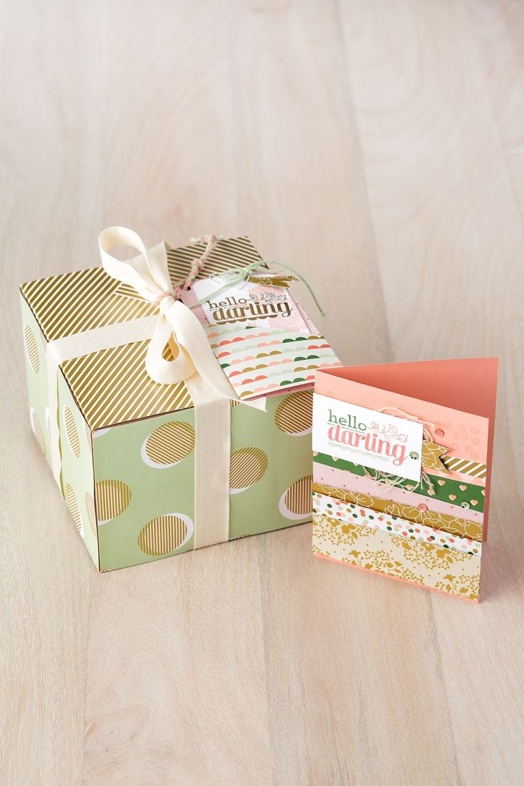 Oh what a darling box and matching card.  Make them both!  Specialty Designer Series Paper – Gold Soiree #133697 Thick Baker's Twine – Pistachio Pudding #135635 Thick Baker's Twine – Crisp Cantaloupe #135636 Hello Darling Stamp Set – Clear #133994 Basics Hodgepodge Clips #133765 Extra-Large Gift Boxes  #132147