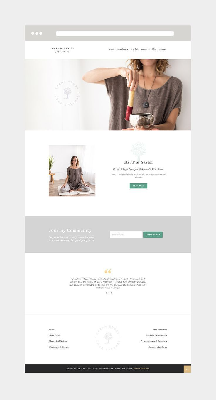Clean And Simple Website Design For Yoga Therapist By Danielle Joseph At Function Creative Co Simple Web Design Simple Website Design Web Design Tips