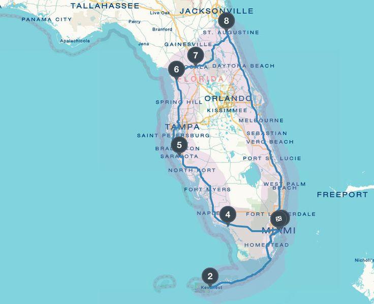 Florida Rundreise mit Mietwagen - Reiseroute