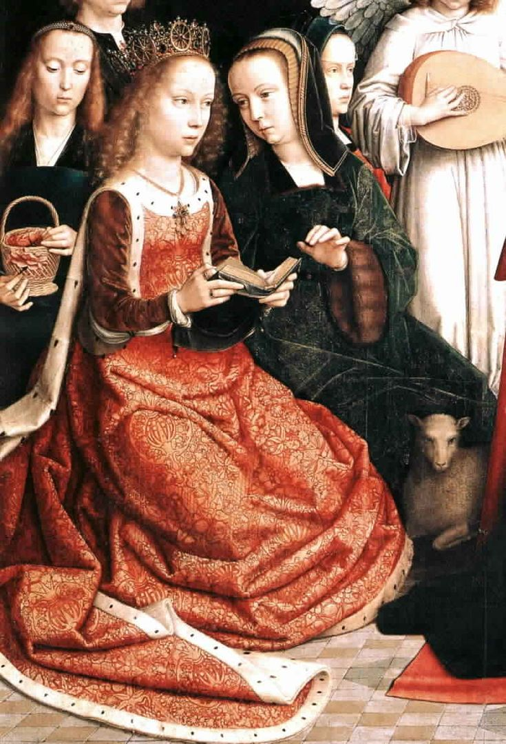 "Gerard David, 1509   (Ainsworth, p. 74)   Detail from Virgin among Virgins  Saint Catherine is often depicted in the ""royal"" surcoate."