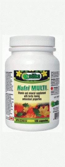 Naka Nutri Multi Get all of your vitamins, minerals and antioxidants in just one great product! Full spectrum multivitamin and mineral supplement containing: 50 mg of the B vitamins, reishi and Shitake Mushrooms, Alpha lipoic Acid, Proanthocyanidins and enzymes in an absorbable capsule.